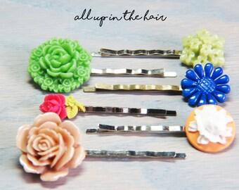 Flower Bobby Pins - Bobby Pin Set - Pink Bobby Pins - Orange Bobby Pins - Green Bobby Pins  - Stocking Stuffer - Christmas Gift