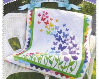 BLOOMING BUTTERFLIES Applique Lap Quilt Pattern by Shabby Fabrics FLOWERS