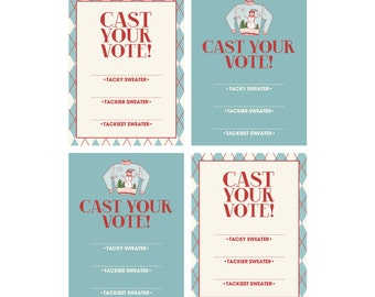 INSTANT DOWNLOAD - Printable Cast Your Vote Cards (2 designs) - Tacky Holiday Sweater Party