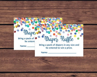 Diaper Raffle Tickets, Rainbow Confetti Baby Shower Diaper Raffle Insert Card, Rainbow Colorful Confetti Instant Download PDF Printable