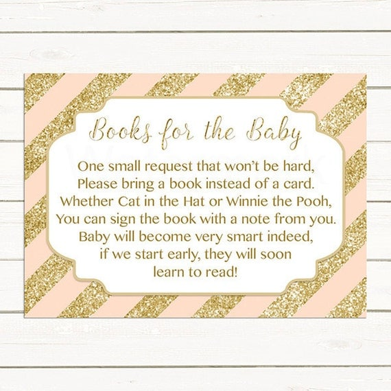 blush pink gold baby shower bring a book instead of a card insert