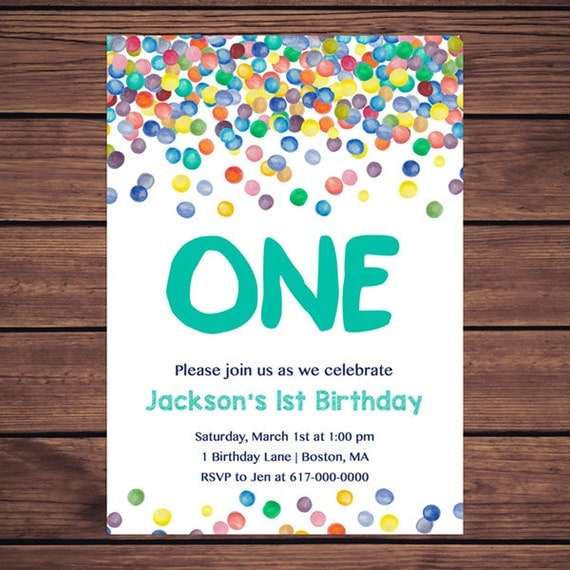 Colorful Confetti 1st Birthday Invitation Any Age Rainbow Dots Boy