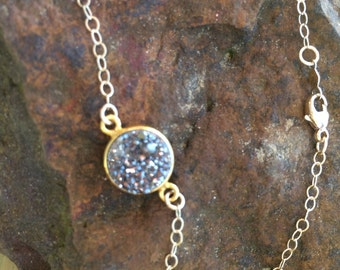 Gold druzy necklace-small Drusy cut Daimont pendent-Gold silver Drusy jewelry- crystal pendent Necklace