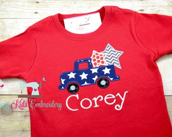 Patriotic Truck Shirt, Fourth of July Shirt, 4th of July Shirt, Boy Truck Shirt, Truck Applique Shirt, Truck Embroidery Shirt, Custom Shirt