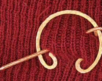 Hammered Copper Wire Scarf Pin/Penannular