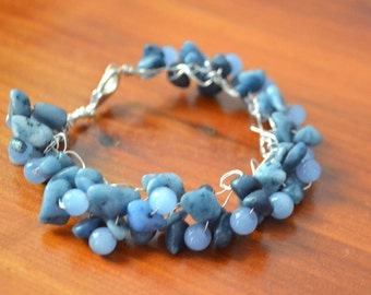 Crocheted Silver Wire Bracelt with Blue Quartzite and Blue Adventurine (Bluebell)