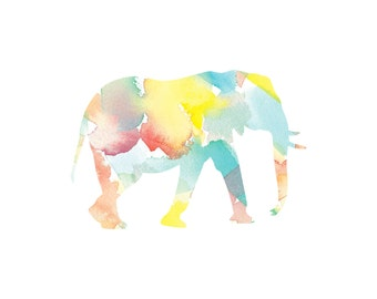 Elephant Art Print. Giclee Watercolor Print