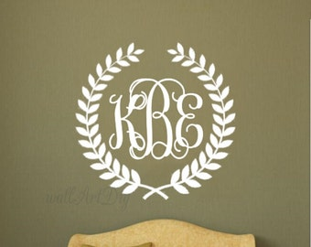 Monogram wall decal Nursery monogram wall sticker Personalized monogram wall murals Olive wreath monogram wall stencils bedroom wall decal