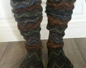 "Chevron Woolies Sweater Socks, Size 8-11, 17"" Tall, upcycled wool sweater, wool socks, boot socks, house slipper"