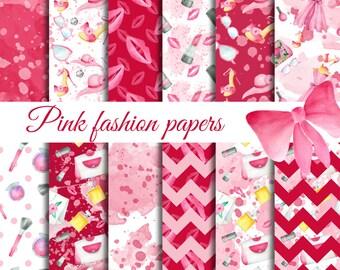 Digital paper fashion, Pink makeup seamless pattern, Fashion scrapbook papers, Fashion background, Makeup seamless paper, digital paper pack