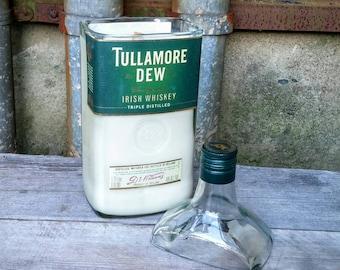 Irish Pub Decor Scented Candle, Tullamore Dew Whiskey Upcycled Liquor Bottle