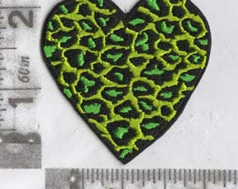 Green animal print heart iron on patch