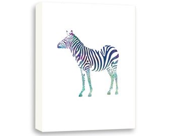 Zebra Watercolor Painting, Gallery Wrapped Canvas