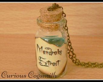 Mandrake Extract Potion Necklace - Potion Bottle Necklace - Mandrake Necklace - Potion Bottle Jewellery - Potion Bottle Jewelry