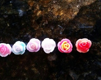 10mm Mixed Two Tone Flower Cabochons