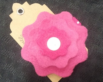 pink layered flower hair clip