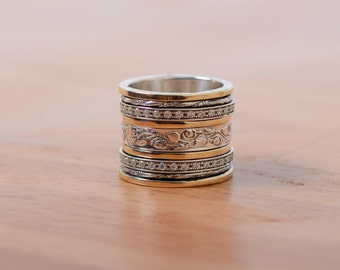 Multi Stone Ring Made With Silver and 9K Gold Spinning Ring Romantic Ring Wedding Ring Meditation Ring Gift for Her