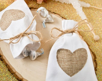 Cotton Rustic Wedding Favor Bags with Burlap Heart Design (Pack of 25) Country Wedding