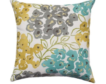 Teal Yellow Pillow Cover, Gray Pillow, Pillow, Floral Pillow, Decorative Pillow, Gold, Gray, Blue, 12 Sizes, Cushion, Euro, Floral Cushion
