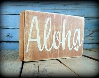 Aloha Sign, Wooden Shelf Sitter, Beach House Decor, Hawaii Plaque,Hawaiian Decor,Rustic Wooden Sign,Beach Theme,Gifts Under 20,Handmade Sign