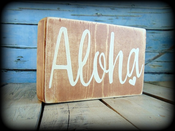 Aloha Sign Wooden Shelf Sitter Beach House Decor Hawaii