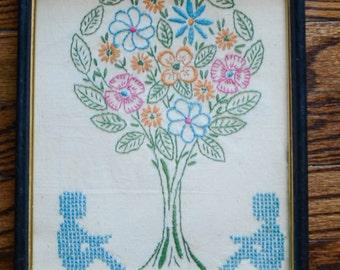Vintage Hand Embroidered Flowers Tree