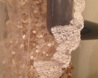 Beautiful blush lace veil, blush pink veil, pink veil. Wedding lace veil