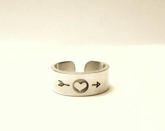 Heart ring, adjustable band ring, hand stamped ring, personalised ring, silver ring, handmade ring, adjustable ring, heart jewellery