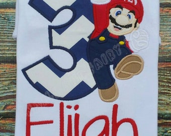 Super Mario or Luigi Custom Embroidered Birthday Shirt Personalized