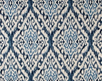 Ikat Curtains drapery panels designer drapery, window curtains 50W 2 panels, bedroom drapery Indigo Blue curtains