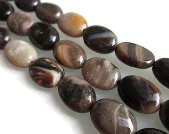 14mm Petrified Wood Beads, Oval Agate Beads, Fossil Gemstone, Smooth Ovals, Polished Oval Gems