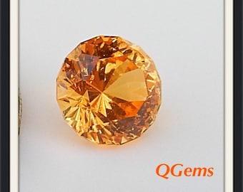 HOLD for Paul - Mandarin Garnet 1.62 cts -Bright Tanzanian Mandarin Orange - Precision Cut with 97 Facets  6.5 mm - Prized Color! #Q0410816