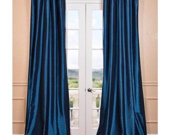 Azul Faux Silk Taffeta Pole Top Curtain Two Panel | Home Drapery
