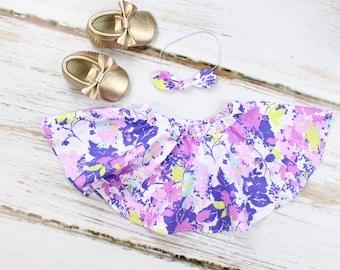 Purple Flower Twirl Skirt | Purple Flower Twirl Skirt w/ Knotted Headband
