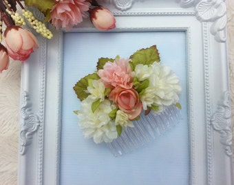 Pink and ivory flower hair comb, flower hair piece, wedding hair accessories, headpiece, prom hair comb, bridesmaid hair comb, flower girl