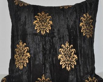 Crushed velvet Cushion with golden handprint 50 X 50cm