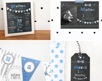 All birthday assorti_FICHIERS numeriques_personnalise, child party, 1st anniversary, chalkboard, label gift deco kit