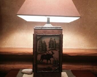 hand painted decorative moose lamp