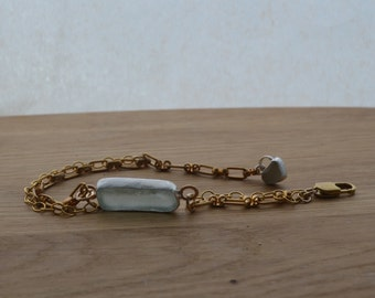 Gold Chain Bracelet with Beautiful Silver Bezel Sea Glass