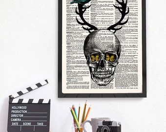 Halloween Gift, Skull Wall Art, Horror Decor, Day of the Dead, Anatomy Gift, Dia de los Muertos, Gothic, Dorm Room, 505