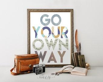 Printable art, Go Your Own Way, Inspirational quote print, Motivational, Music lyric art, 70s art print,  Fleetwood Mac Inspired Wall Art