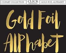 GOLD FOIL ALPHABET Digital ClipArt: Letters, Numbers, Symbols, Printable Gold Foil Letters, Hand drawn Alphabet Clip Art, Transparent Png