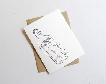 Message in a Bottle Card / I Miss You Letterpress Greeting Card / Blank Nautical Stationery