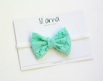 Baby Bow Headband - Baby Headband - Mint Green Headband - Lace Bow - Newborn Headband - Lace Hair Bow - Baby Headband Bow - Lace Headband