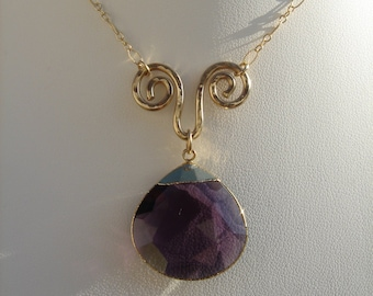 Necklace in 585 gold filled with Amethyst pendant in extravagant design