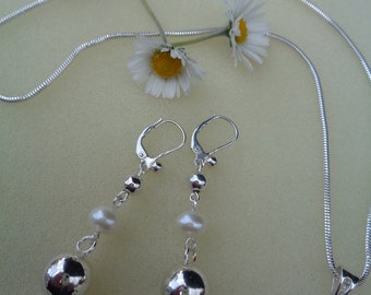 Earrings sterling silver, earrings, long with balls and fresh water Pearl