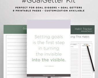 Goal Setting Planner Kit - Printables for Goal Getters, Goal Digger, Goal Tracker, Growth Tracker, To-Do List, Printable PDF, Goal Planning