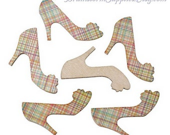 Decorative Wood Shapes - Wood High Heel Shoes - 12 Wood Pieces - Cute for Card Making, Embellishments - Wooden Shapes - WDS03