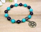 Pentacle Bracelet with Turquoise, Black Onyx and Hematite Crystals for Positivity & Protection   Pentagram Pagan Wicca Witch Healing Energy