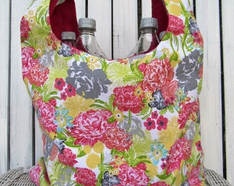 Reusable market bag, shopping bag, Floral grocery bag, gym bag, beach bag.